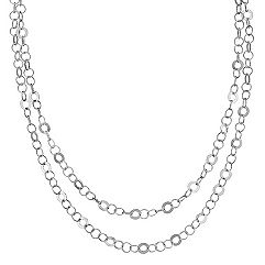Sterling Silver Circle Link Necklace (47 in.)
