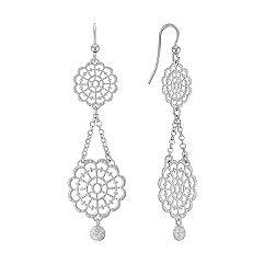 Vintage Sterling Silver Floral Dangle Earrings