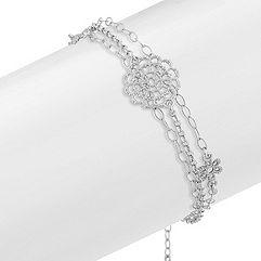 Vintage Sterling Silver Floral Bracelet (7.5 in.)