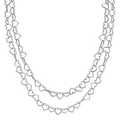 Sterling Silver Heart Link Necklace (47 in.)