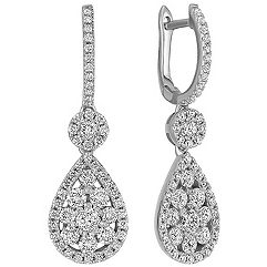 Diamond Cluster Leverback Dangle Earrings