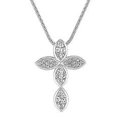 Marquise and Round Diamond Cross Pendant (18 in.)