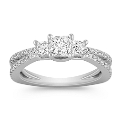 Three-Stone Princess Cut and Round Diamond Ring
