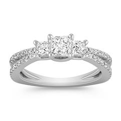Three-Stone Princess Cut and Round Diamond Ring