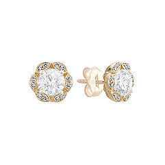 Vintage Round Diamond Earring Jackets with Pavé Setting