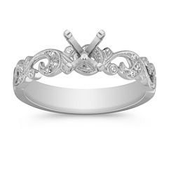 Platinum Vintage Swirl Engagement Ring with Pave Setting