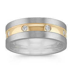 Diamond Ring in Two-Tone Gold with Bezel Setting (8mm)
