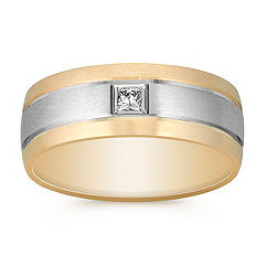 Princess Cut Diamond Ring in Two-Tone Gold with Satin Finish (8mm)