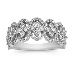 Round Diamond Cluster Ring with Scalloped Edges