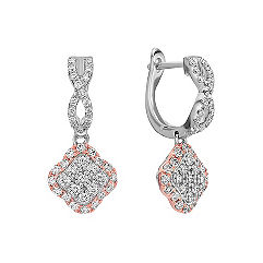 Diamond Cluster Earrings in White and Rose Gold