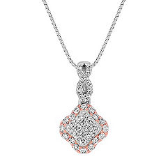 Diamond Pendant in White and Rose Gold (18 in.)