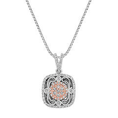 Vintage Diamond Square Pendant in White and Rose Gold (18 in.)