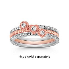 Stackable Circle Diamond Ring in White and Rose Gold
