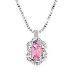 Oval Pink Sapphire and Diamond Pendant (18 in.)