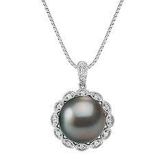 11mm Cultured Tahitian Pearl and Diamond Pendant (18)