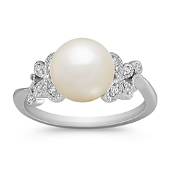 8.5mm Cultured Freshwater Pearl and Diamond Ring in Sterling Silver