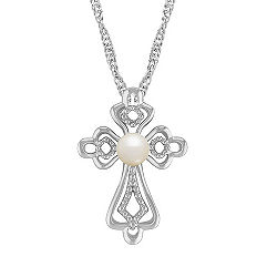 4.5mm Cultured Freshwater Pearl and Sterling Silver Cross Pendant (20)