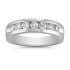 Platinum Seven-Stone Diamond Ring with Channel Setting