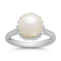 9.5mm Cultured Freshwater Pearl Ring in Sterling Silver