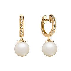 8.5mm Cultured Freshwater Pearl and Diamond Hoop Earrings