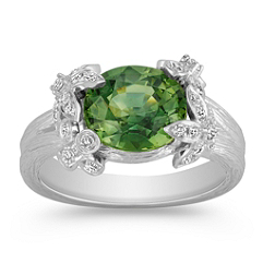 Oval Green Sapphire and Round Diamond Ring