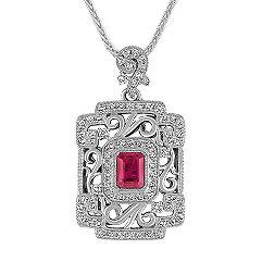 Emerald Cut Pink Sapphire and Round Diamond Pendant (22)