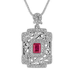 Emerald Cut Pink Sapphire and Round Diamond Pendant (22 in.)