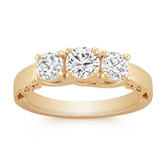Three-Stone Vintage Round Diamond Ring