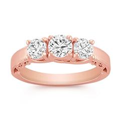 Vintage Three-Stone Diamond Ring in Rose Gold