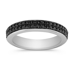 Black Sapphire Wedding Band for Her