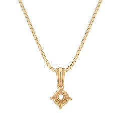 14k Yellow Gold Pendant with Round Heart Basket to hold 1/3 ct. (18 in.)