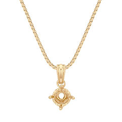 14k Yellow Gold Pendant with Round Heart Basket to hold 1/2 ct. (18 in.)
