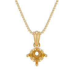 14k Yellow Gold Solitaire Milgrain Pendant (18)