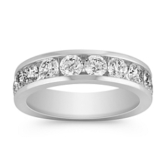 Ten Stone Round Diamond Wedding Band with Channel Setting