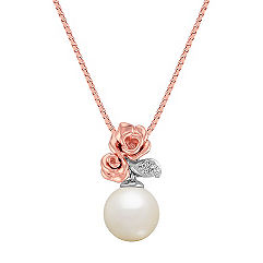 Rose 8mm Cultured Freshwater Pearl and Diamond Pendant in Rose Gold and Sterling Silver (18 in.)