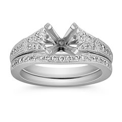 Sectioned Vintage Cathedral Diamond Wedding Set with Pave-Setting