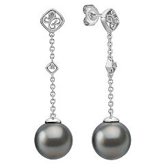 11mm Cultured Tahitian Pearl and Round Diamond Dangle Earrings