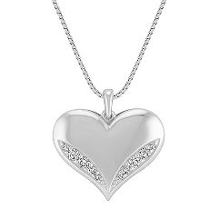 Engravable Diamond Heart Pendant in Sterling Silver