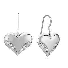 Engravable Diamond Heart Earrings in Sterling Silver