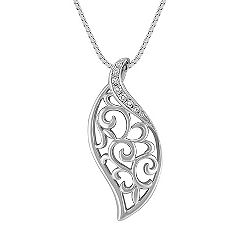 Contemporary Diamond Pendant in Sterling Silver (18 in.)