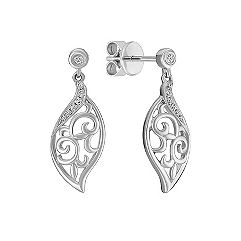 Sterling Silver and Diamond Dangle Earrings