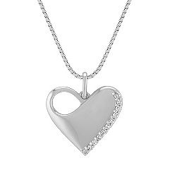Engravable Diamond Heart Pendant in Sterling Silver (18 in.)