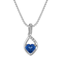 Heart-Shaped Sapphire Pendant in Sterling Silver (18)