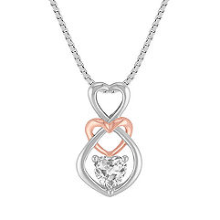 Heart-Shaped White Sapphire Heart Pendant in Sterling Silver and 14k Rose Gold (18 in.)