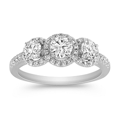 Round Diamond Three-Stone Ring with Pave Setting