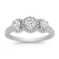 Round Diamond Three-Stone Ring with Pave Setting