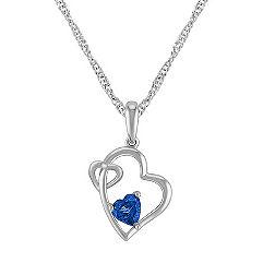 Heart-Shaped Sapphire Double Heart Pendant (20 in.)