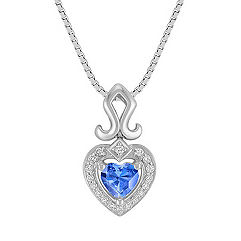 Heart-Shaped Kentucky Blue Sapphire and  Round Diamond Pendant in Sterling Silver (18)