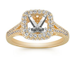 Vintage Halo Round Diamond Engagement Ring with Pavé Setting
