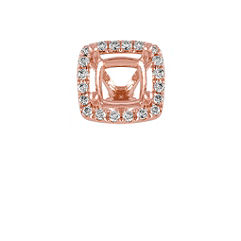 Diamond Halo Head in Rose Gold to Hold 1.00 ct. Cushion Cut Stone